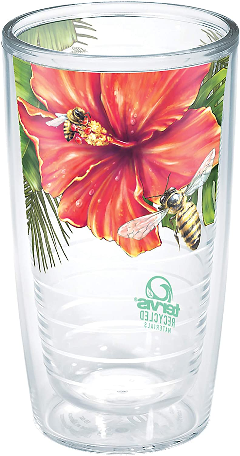 Tervis Recycled Insulated Tumbler, 16oz, Bumblebees & Hibiscus