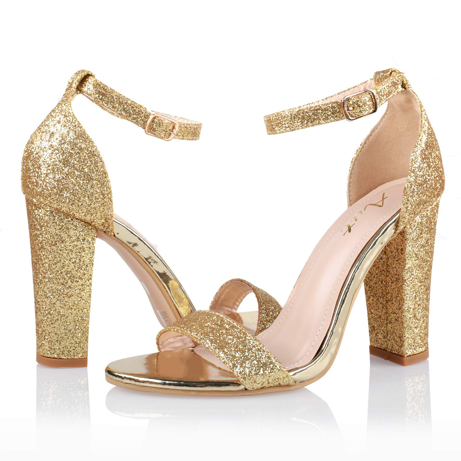 Dress Size Chunky Heel Heels Aiit Shoes Gold Sparkling High Sandals Pumps 9 Gatsby Block Stiletto Women's Party For 1920s Fashion Women lT5FKuJc13