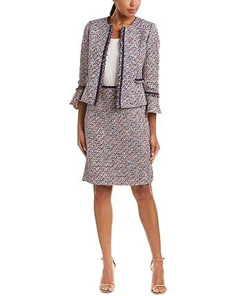 Tahari By Arthur S Levine Womens Metallic Bell Sleeve Skirt Suit