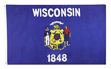 676c029dea0e5 Shop72 US Wisconsin State Flags - Wisconsin Flag - 3x5' Flag from Sturdy  100D Polyester - Canvas Header Brass Grommets Double Stitched from Wind Side