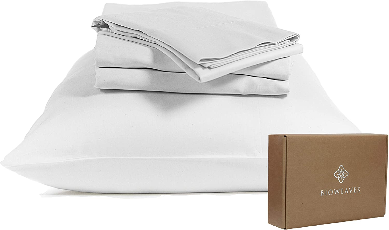 Twin XL, Sand 300 Thread Count Soft Sateen Weave GOTS Certified with deep Pockets BIOWEAVES 100/% Organic Cotton 1 Fitted Sheet Only