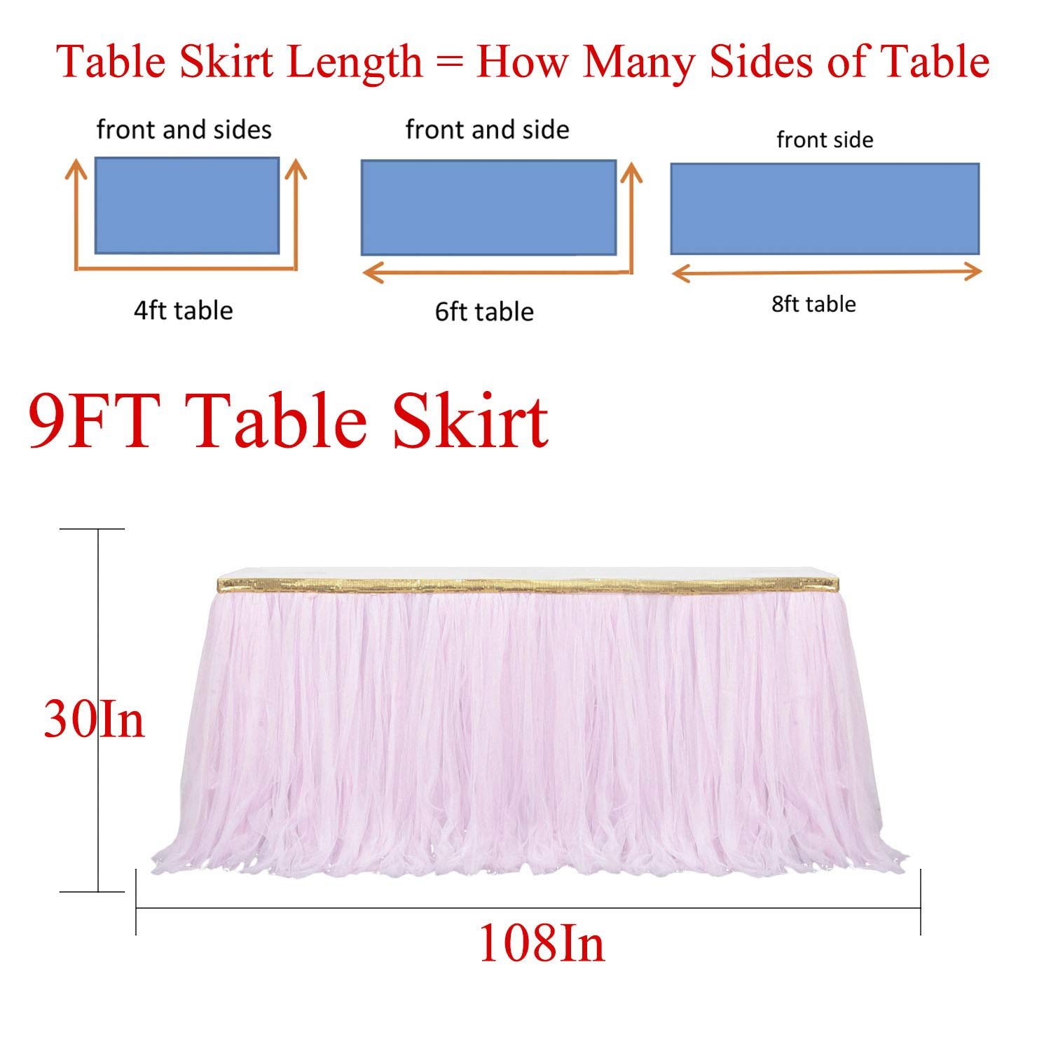 9ft Gold/Pink Tulle Table Skirt Tutu Table Skirts Wedding Birthday Baby Shower Party Table Skirting by HB HBB MAGIC (Image #4)