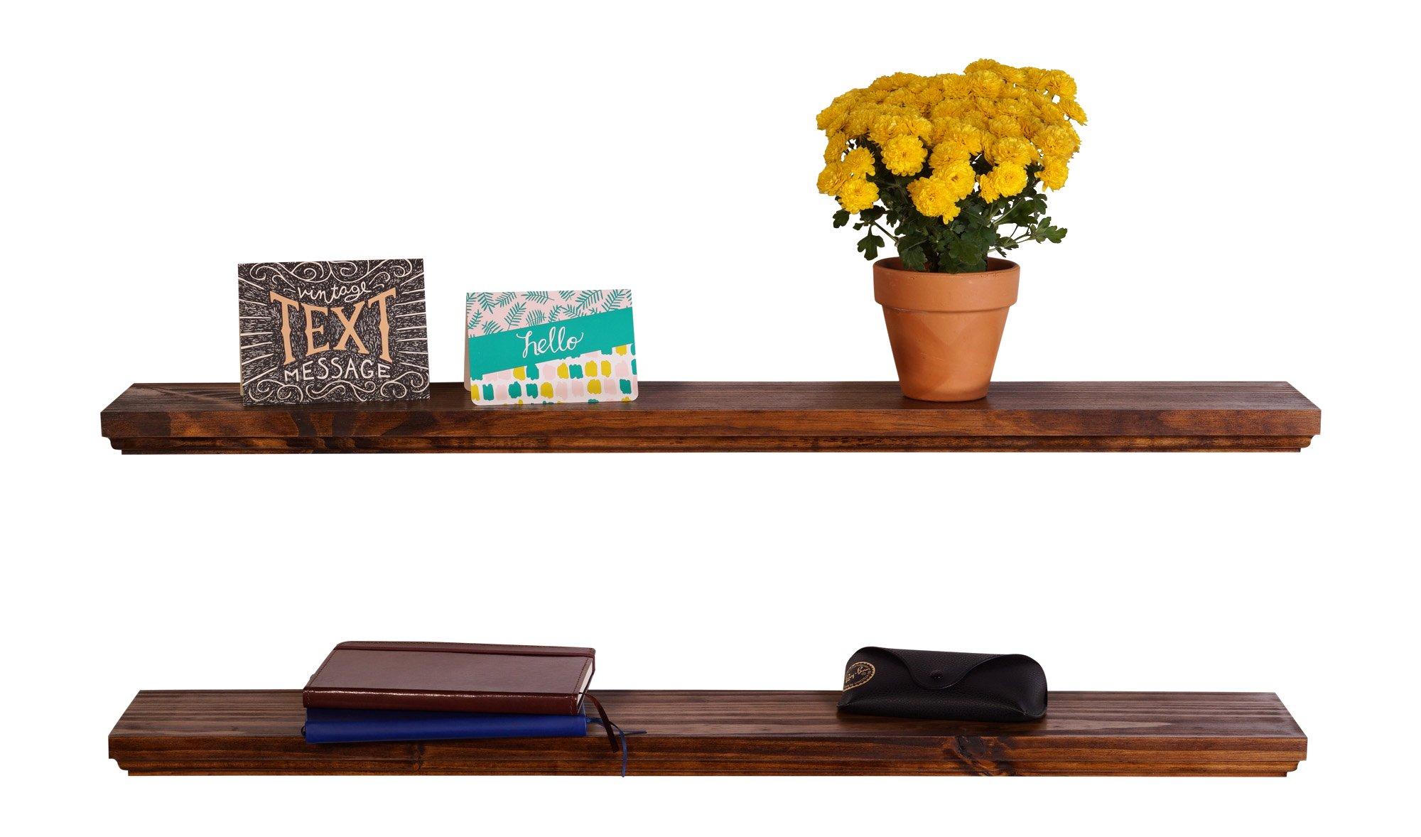 DAKODA LOVE Routed Edge Floating Shelves, USA Handmade, Clear Coat Finish, 100% Countersunk Hidden Floating Shelf Brackets, Beautiful Grain Pine Wood Wall Decor (Set of 2) (36'', Bourbon)
