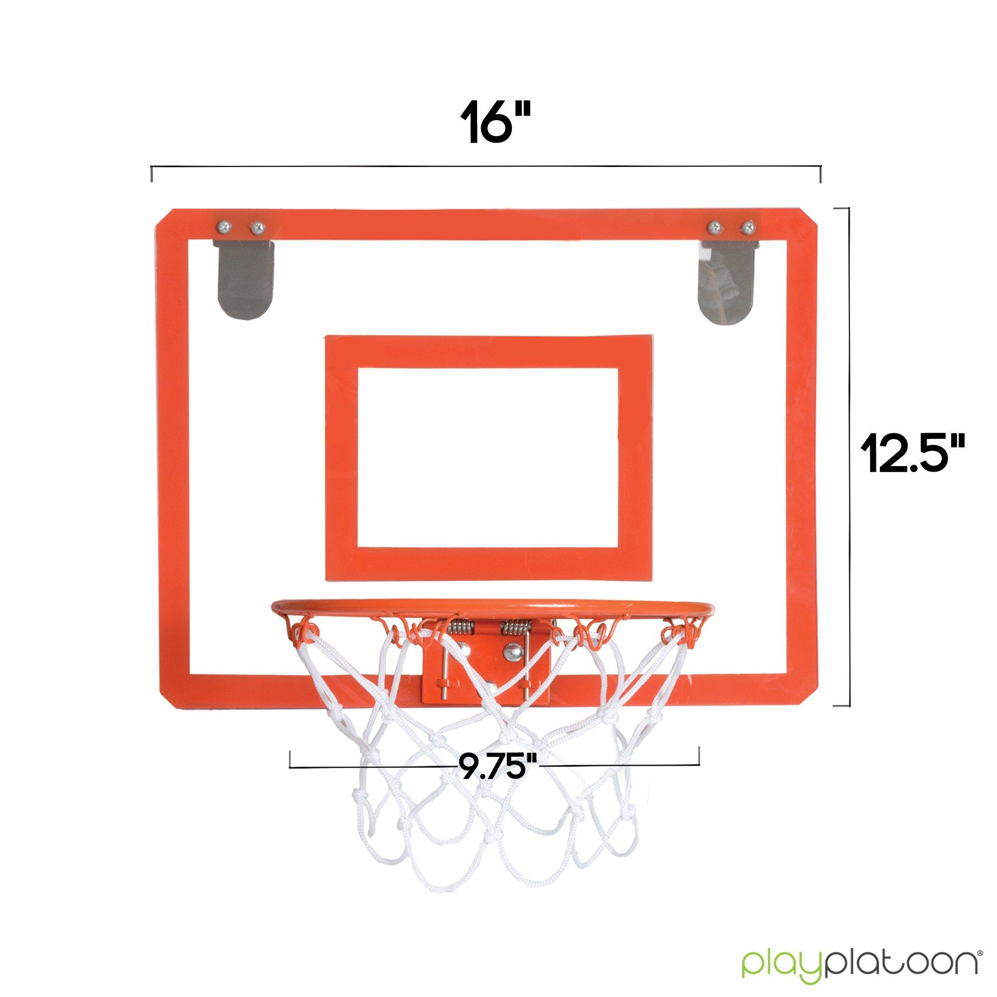Play Platoon Mini Basketball Hoop for Door - 16 x 12 Inch Bedroom Basketball Hoop Indoors Set by Play Platoon (Image #4)