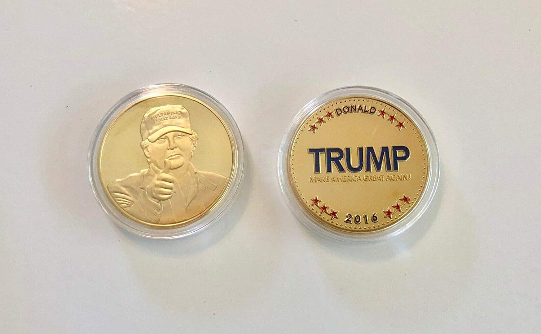 with COA President Donald Trump.. 24K Gold Overlay...2016 Commemorative Coin..