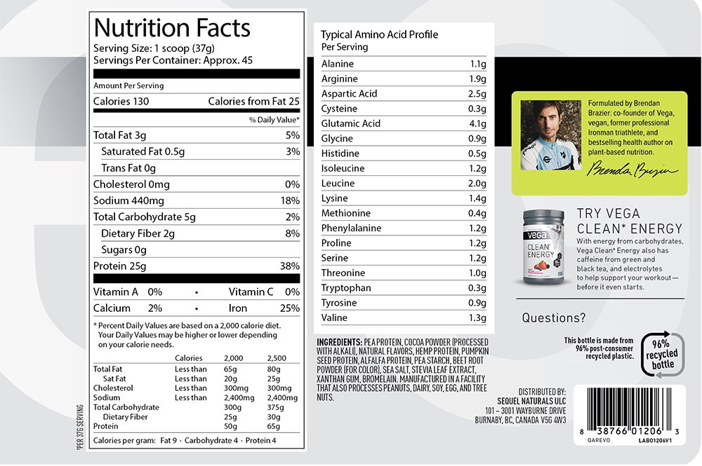 Vega Clean Protein Powder Chocolate (45 Servings, 3 lb 10.5 OZ) - BCAAs, Non Dairy, Gluten Free, Non GMO by Vega (Image #3)