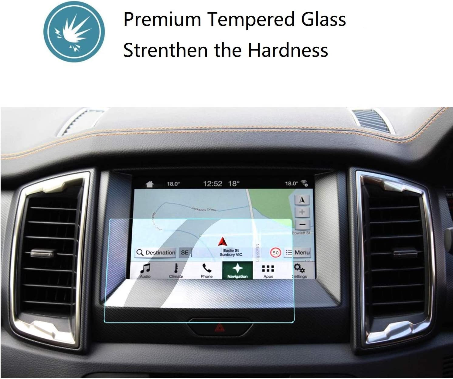 "ZFM Tempered Glass Screen Protector Compatible with Ford Edge 2019 2020,9H Hardness,High Definition,Protecting Ford SYNC3 8/"" Car Center Touch Screen"