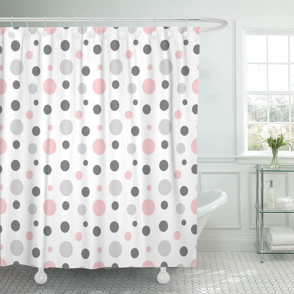 Emvency Shower Curtain Geometric Pink Gray White Modern Polka Dot Pattern Retro Waterproof Polyester Fabric 72 X 72 Inches Set With Hooks Amazon Co Uk Kitchen Home