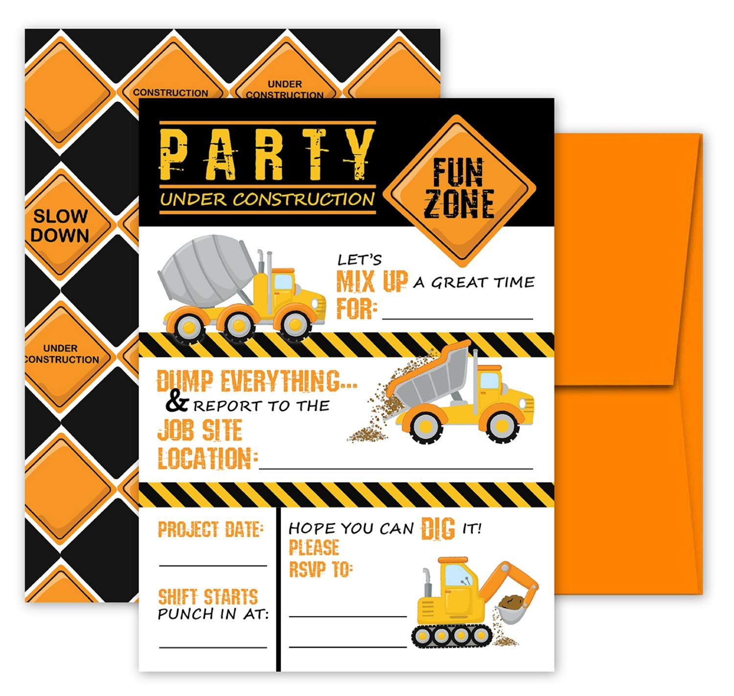 Deluxe Construction Dump Truck Birthday Party Invitations for Boys, 20 Double Sided Large 5 x 7 Flat Fill In Invites with Orange Envelopes, Kids Party Supplies by Pink Pixie Studio (Image #1)