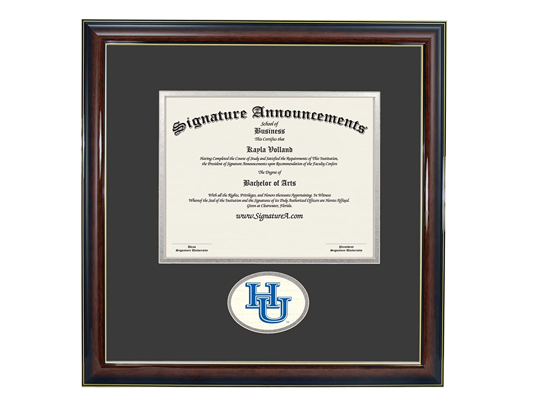 Signature Announcements Hampton-University Undergraduate Sculpted Foil Seal Graduation Diploma Frame 16 x 16 Gold Accent Gloss Mahogany