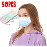 LAOGANDIE 50PCS Colorful Disposable Face Mask, 3Ply Non-Woven Breathable Face Mask for Kids and Adults