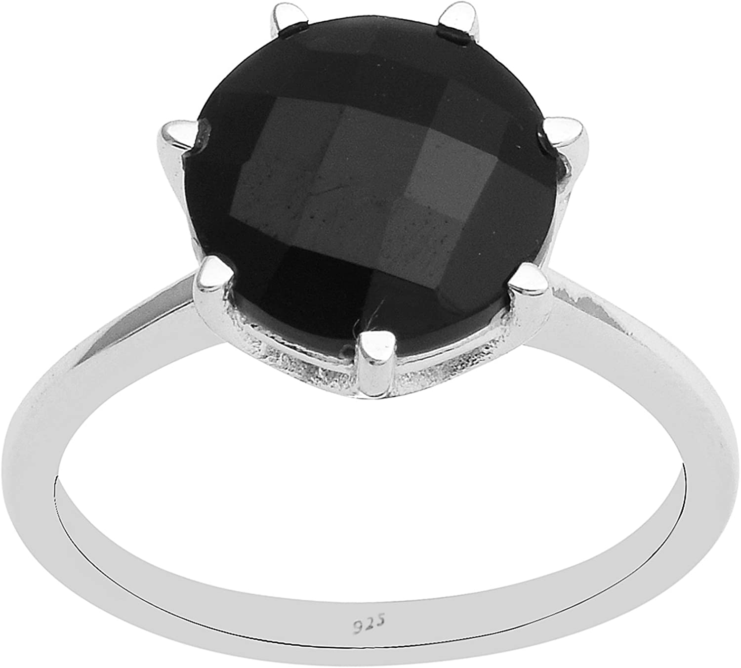 Black Spinel Single Stone 925 Sterling Silver Solitaire Stackable Band Ring