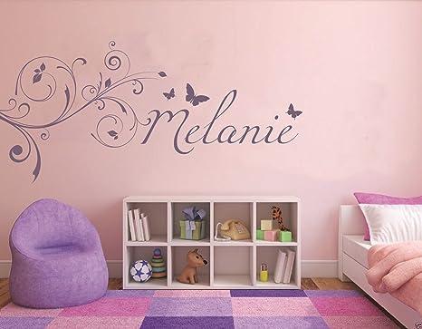 tjapalo® viele Farben u Größen LA-pkm5 Wandtattoo Name Kinderzimmer,  Mädchen, Sticker Baby Wunschname mit Blumen Schmetterlinge (B100 x H 46 cm)