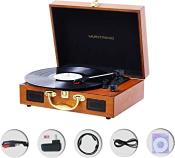 Jopostar Suitcase Vinyl Record Player with Built-in Speakers
