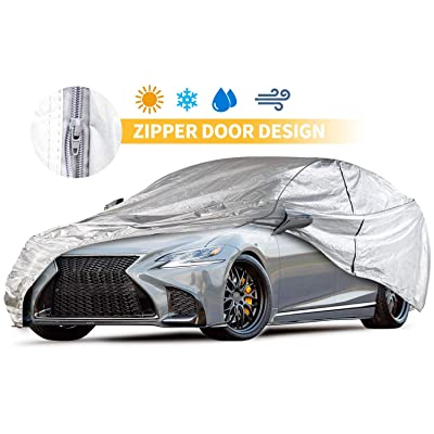 Car Covers Outdoor Silvery 5 Layers 200'' Auto Covers with Driver Door Zipper UV Protection Waterproof Windproof Dust-Proof Scratch Resistant Outdoor/Indoor Universal Car Covers for Sedan: Automotive