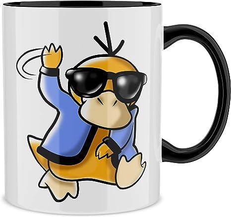 OKIWOKI Pokémon Lustiges Tasse mit farbigem Henkel und Innenleben (Schwarz)  - Enton (Pokémon Parodie signiert Hochwertiges Tasse - Ref : 599):  Amazon.de: Küche & Haushalt