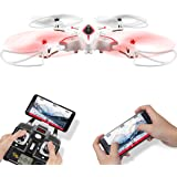 FPV Faltbar RC Drohne Syma X56W Foldable flexible RC Quadcopter Mit HD Kamera APP Steuerung live Video Tragbar klappbar Hubschrauber Höhenhaltung 360 Grad Drehung Kopflos Modus Schwerkraft-Sensor RTF Für Kinder Weiß