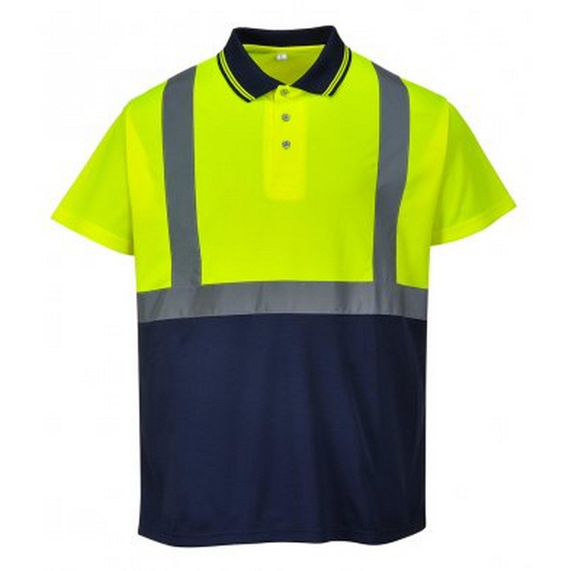 Portwest Mens Hi-Vis Two Tone Polo Shirt (L) (Yellow/Navy)