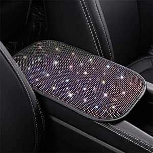 Armrest Cover for Car Cute Bling Auto Center Console Protector Arm Rest Cushion Pad Crystal Rhinestone Car Decor Car Accessories for Women, Multicolor