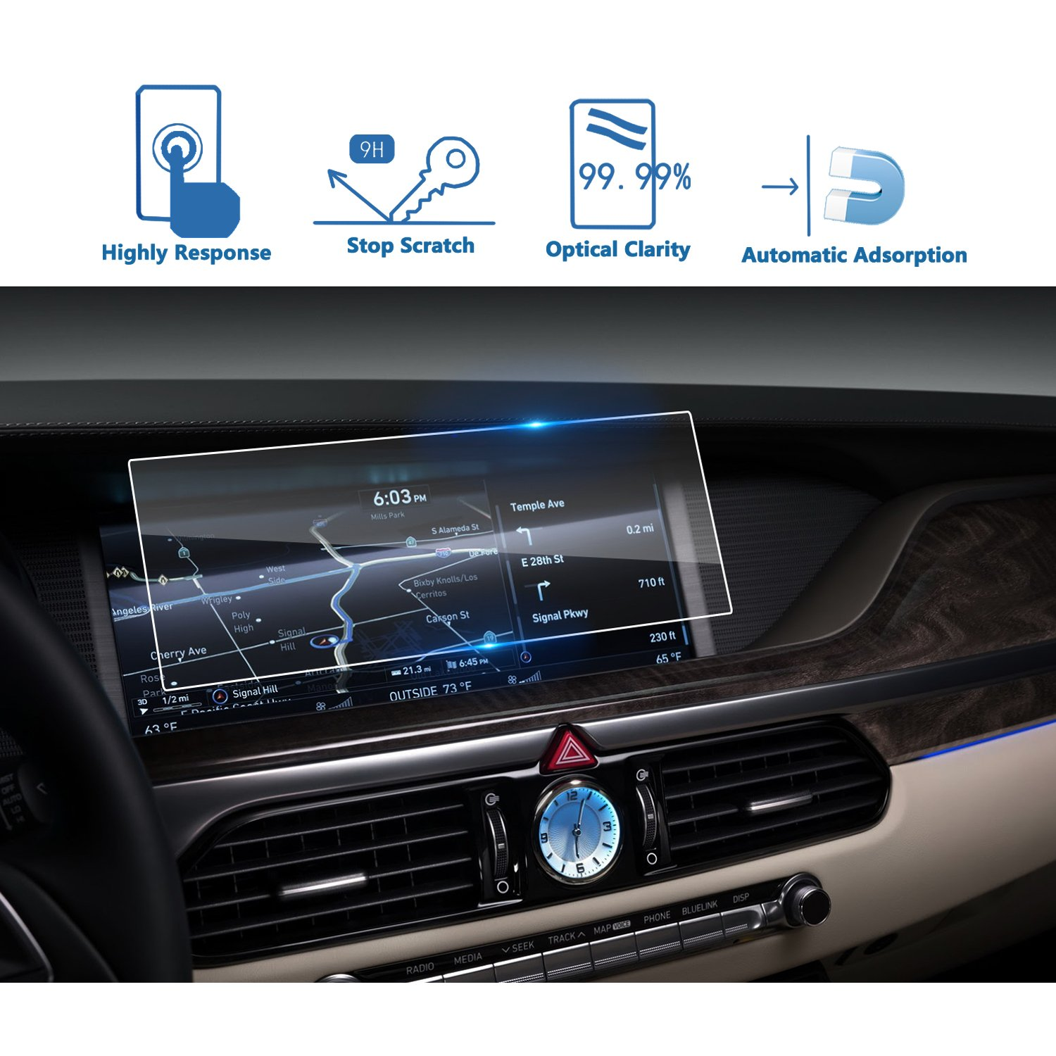 LFOTPP Car Navigation Screen Protector for 2017-2018 Genesis G90 12.3 Inch, Tempered Glass Infotainment Center Touch Screen Protector Anti Scratch High Clarity LiFan US01CMHGG12.3 9H