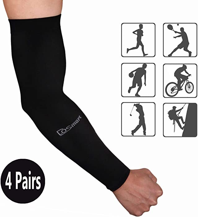 DoSmart Black Silk UV-Protection Unisex Cooling Arm Sleeves for Outdoor Sports (Driving/Riding/Basketball/Hiking/Golf)