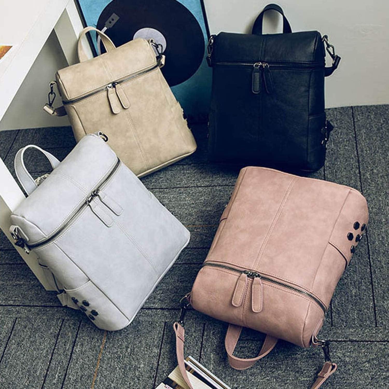 Multifunction Women Leather Backpack Solid Shoulder Bag For Teenager Girls School Bags Retro Backpacks