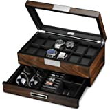Lifomenz Co Wooden Watch Box for Men Watch Jewelry Box Organizer with Valet Drawer,12 Slot Watch Display Case Holder Large Wa