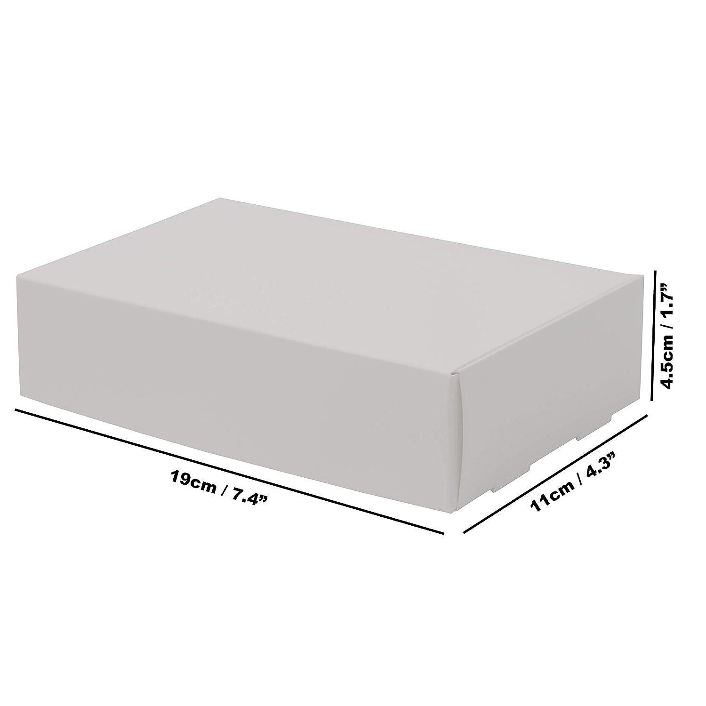 Gioielli -Scatola Regalo Bomboniera Kurtzy Scatole di Cartone Kraft Bianco Feste L19 x L11 x A 4.5 cm Scatole Cartone Piatte Presentazione Adatte Pacchi Confezione da 10 Dolcetti Matrimonio
