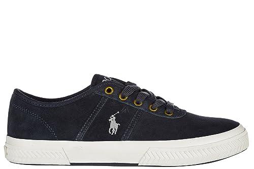 Ralph Lauren Men's Shoes Suede Trainers Sneakers Tyrian blu UK Size 6  816664678004