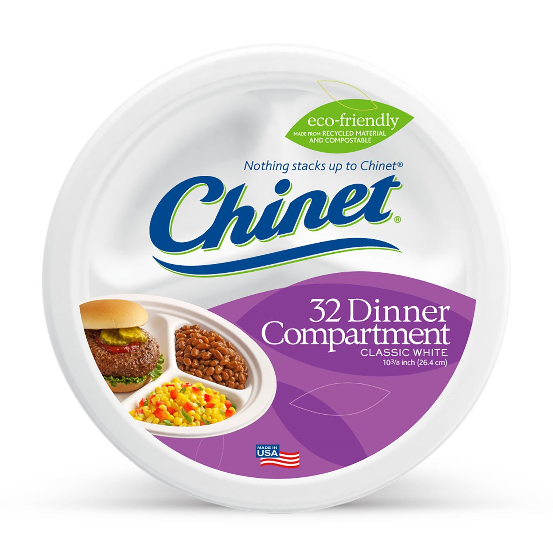 Chinet Classic White Compartment Plate, White, 10-3/8 Inch, 32 Count Huhtamaki 32227