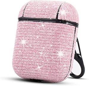 HIDAHE Airpod Case Cute, Skin for Airpods, Girly Airpod Case, Bling Glitter Luxury Leather Covers with Keychain Cute Girls Kids Protective Case for Apple Airpods 1 & 2 Charging Case, Pink