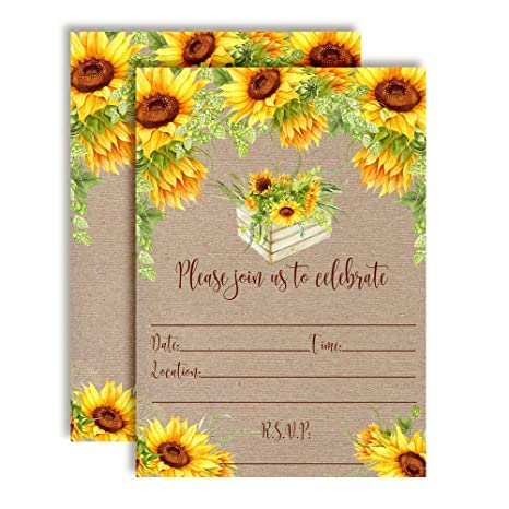 Amazon Rustic Fall Watercolor Sunflowers Party Invitations 20