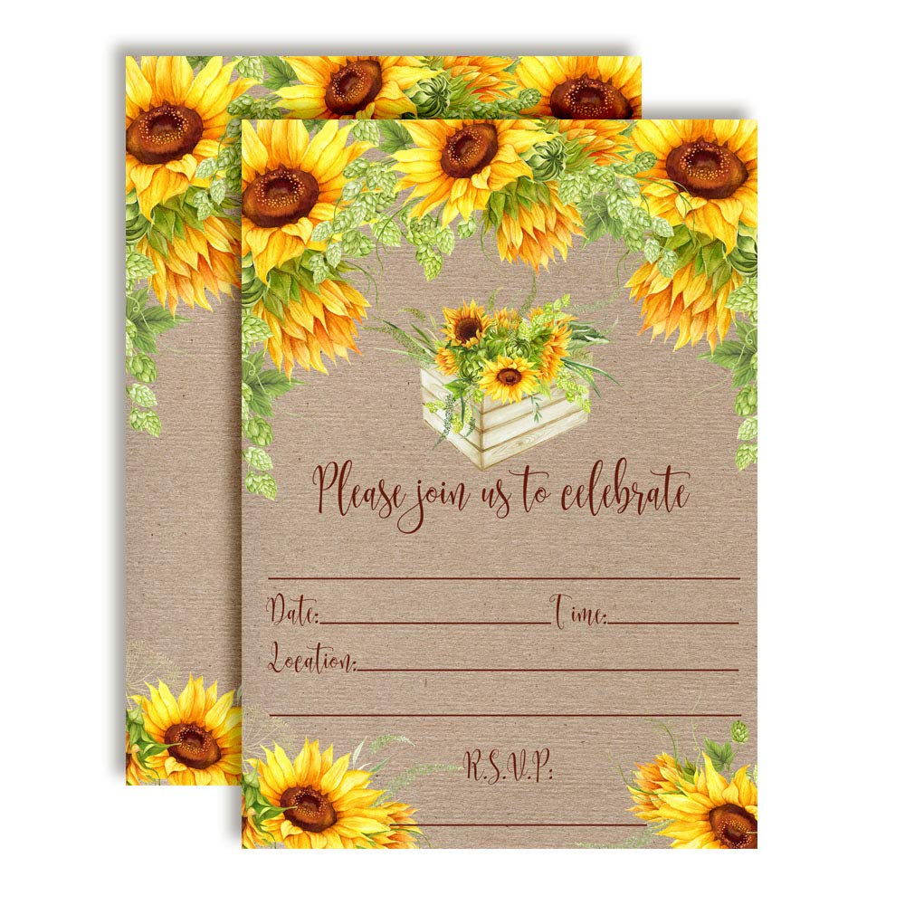 Rustic Fall Watercolor Sunflowers Party Invitations, 20 5''x7'' Fill in Cards with Twenty White Envelopes by AmandaCreation