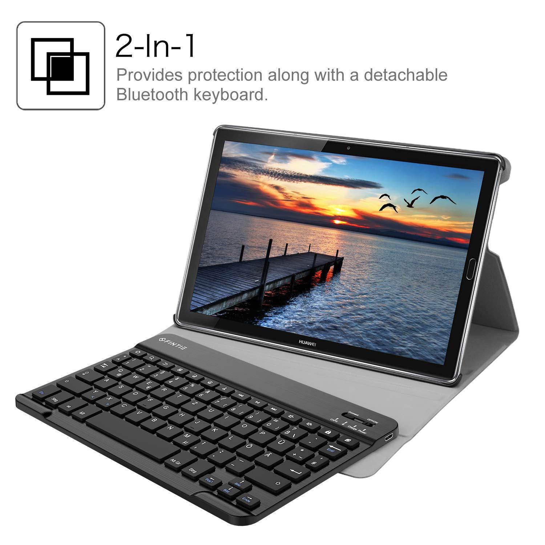 Fintie Huawei Mediapad M5 10.8//10.8 Pro QWERTZ Bluetooth Tastatur H/ülle Die Galaxie St/änder Schutzh/ülle mit Magnetisch Abnehmbarer Drahtloser Deutscher Bluetooth Tastatur f/ür Huawei M5 10,8 Zoll