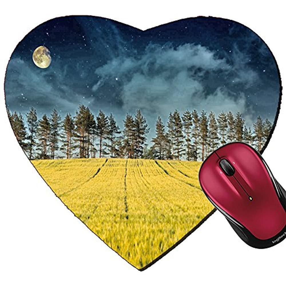 Alfombrilla de ratón con Forma de corazón para ratón, Paisaje diseño de Paisaje ratón, místico, árboles de Pino Amarillo, Luna y Cielo Nocturno Oscuro ea20c5