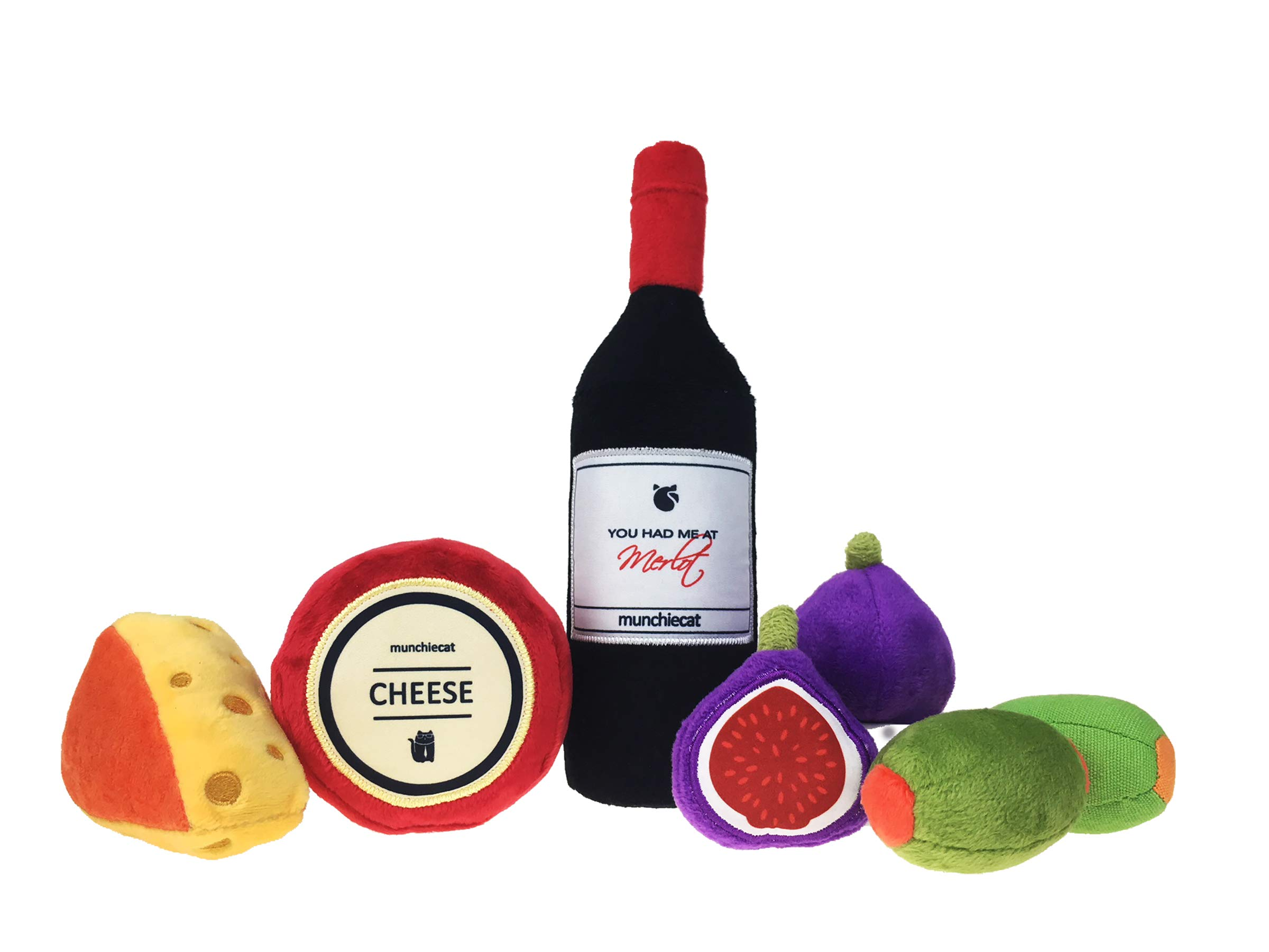 munchiecat Wine and Cheese Cat Toys 7 Piece Variety Set | Wine Bottle, Cheese, Figs & Olives | Organic Catnip, Crinkle Paper & Rattle Bells by munchiecat