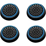 Insten [2 Pair / 4 Pcs] Wireless Controllers Silicone Analog Thumb Grip Stick Cover, Game Remote Joystick Cap for PS4 Dualshock 4/ PS3 Dualshock 3/ PS2 Dualshock/Xbox One/Xbox 360, Black/Blue