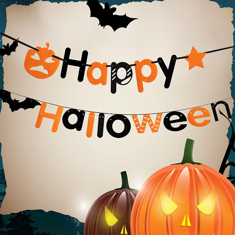 Happy Halloween Banner, Outee Halloween Party Dekoration Banner Kürbis Star Fledermaus Banner mit einer Threading Nadel für Halloween Party Dekoration
