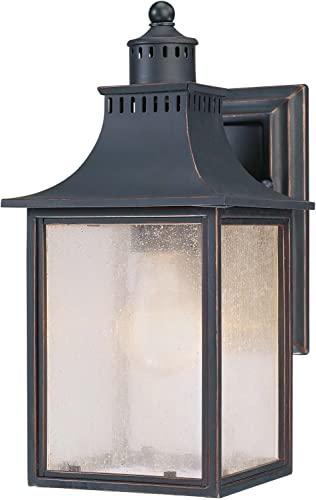 Savoy House Lighting 5-254-25 Monte Grande Collection 1-Light Outdoor Wall Mount 11.5-Inch Lantern, Slate with Pale Cream Seeded Glass