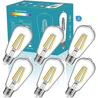 ST64 Vintage LED Edison Bulbs 810lm 60 Watt Equivalent 6W Dimmable LED Filament Light Bulb 810 Lumen Soft White 2700K ST64 Antique E26 Medium Base for Decorate Bedroom Office 6Pack 27K