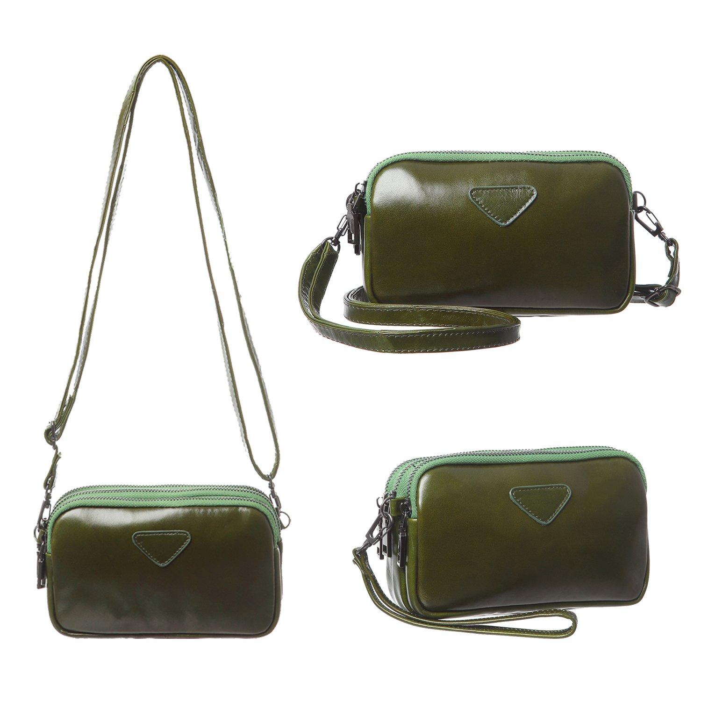 Leather Cell Phone Purse Wristlet Wallet Women Girls Three Layers Clutch Handbag Mini Crossbody Bag Fit iPhone X 8 7 Plus 6S/6 5S 5C Samsung Galaxy S8+ S7 S6 Edge S5 Katloo (Green)