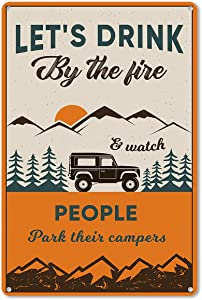 ForbiddenPaper Funny Camping SayingsMetal Tin Sign Wall Decor Campsite Signfor Home Wall Decor Gifts for Women Men Friends - 8x12 Inch