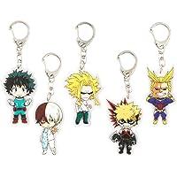 JSY Anime Boku No Hero Academia Keychain Key Ring My Hero Academia Acrylic Action Figure (5 Pieces)