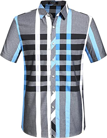 SSLR Camisas Manga Corta Hombre a Cuadros y Rayas Regular Fit Algodón