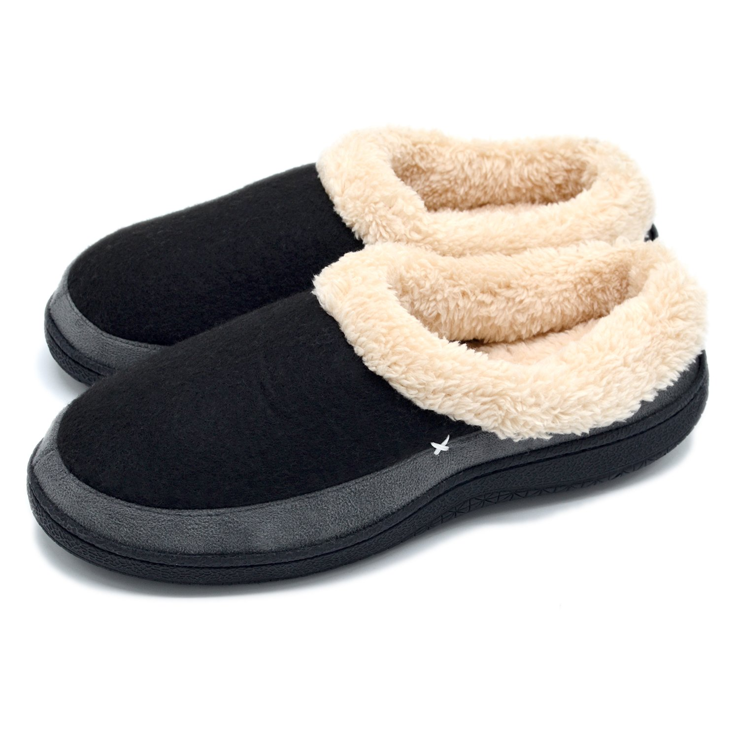 Men's Comfort Memory Foam Slippers Wool-Like Plush Fleece Lined House Shoes Indoor/Outdoor Non-Skid Rubber Sole (X-Large/13-14 D(M) US, Black)