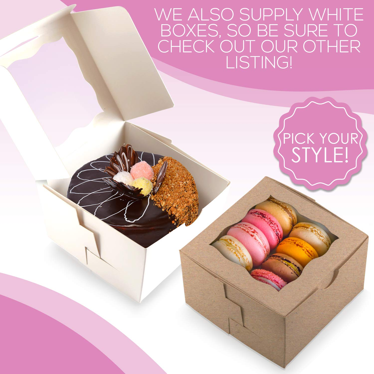 [50Pack] Bakery and Wedding Favor Boxes with Window 4x4x2.5'' - Gift Boxes for Cookies, Cake, Pastries, Donuts, Cupcakes, Candy & Baked Good Treats | Small Dessert Packaging Party Containers by FreshLi (Image #6)