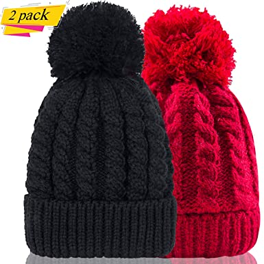 Women s Winter Beanie Warm Fleece Lining - Thick Slouchy Cable Knit Skull Hat  Ski Cap( 95deb96c08c