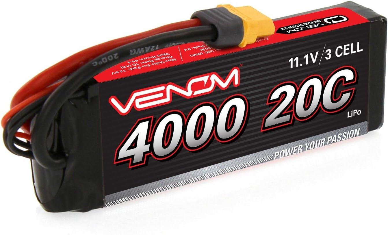 Venom 20C 3S 4000mAh 11.1V LiPo Battery with Universal Plug EC3//Deans//Traxxas//Tamiya