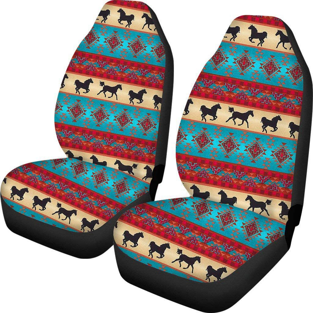 INSTANTARTS 2 Piece Four Season Front Car Seat Covers Universal Fit Ethnic Vintage Print Vehicle Cars Seats Cover