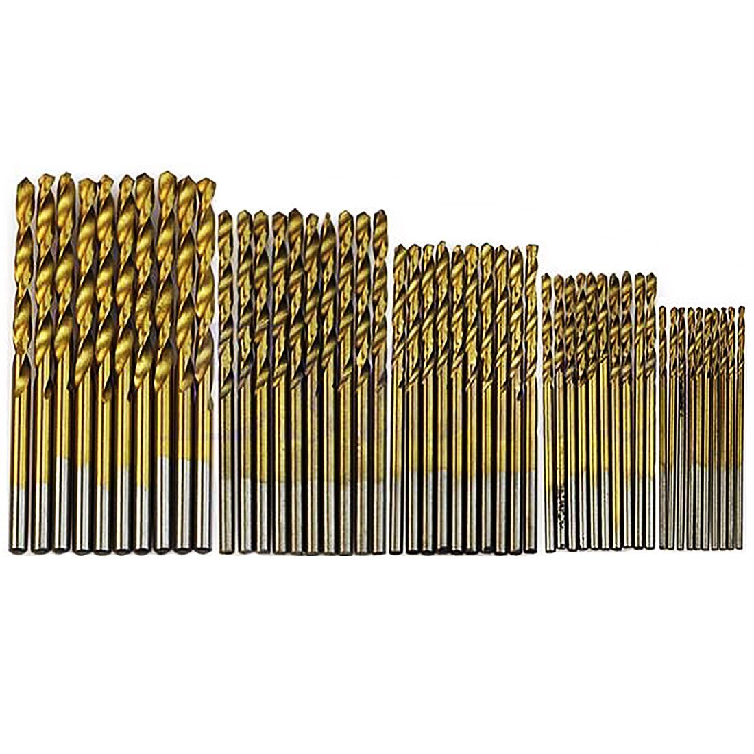 BananaB 50Pcs Plating Titanium Coated Metal HSS High Speed Steel Drill Bit Set Tool